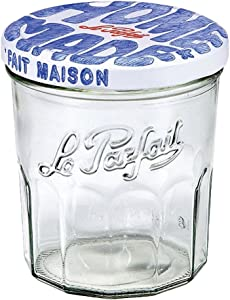 Le Parfait Jam Jar - 324ml Faceted French Glass Jelly Jar w/Twist Lid, Home Made,11oz (Pack of 6)