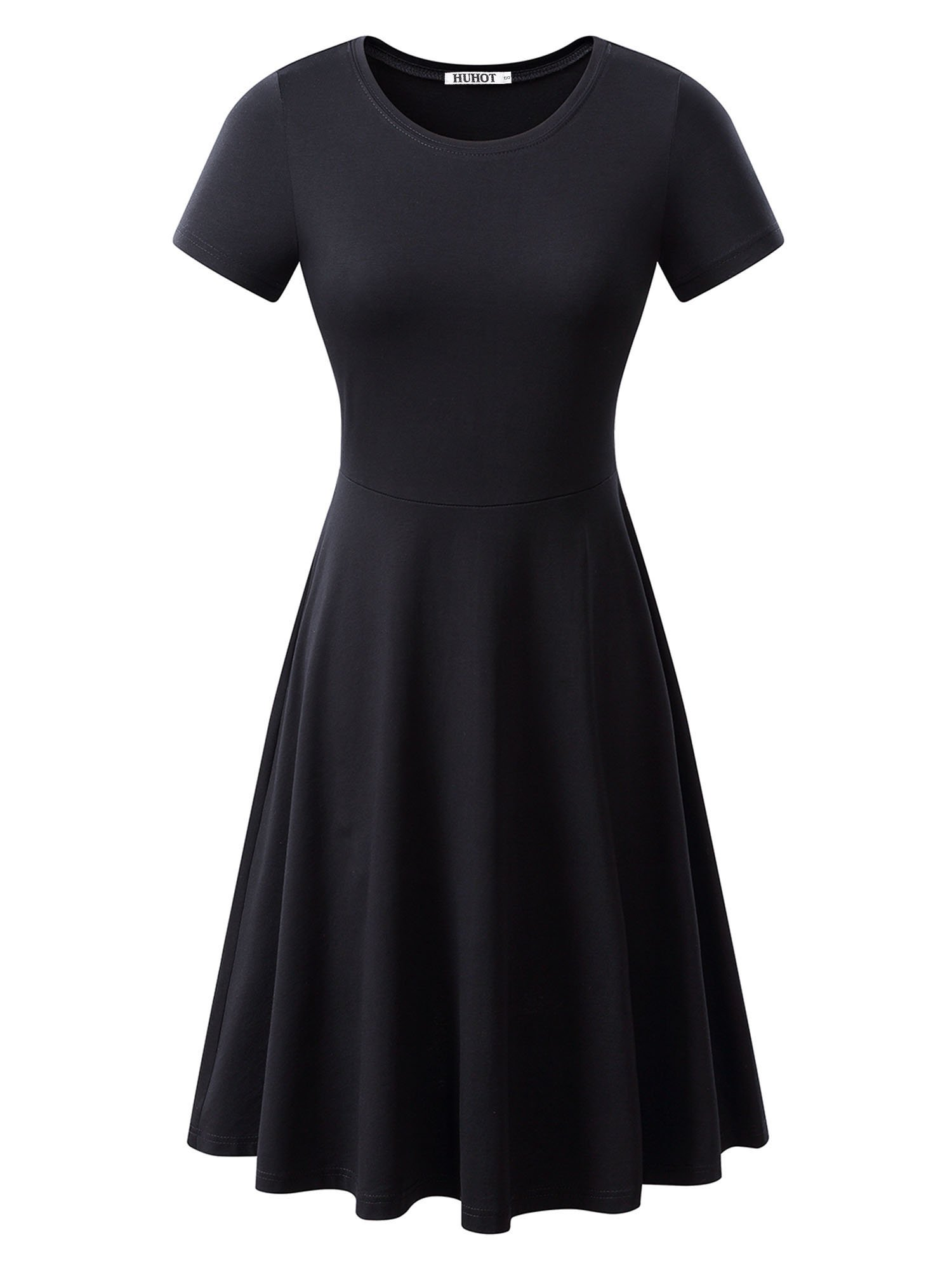 HUHOT Women Short Sleeve Round Neck Summer Casual Flared Midi Dress Large Black
