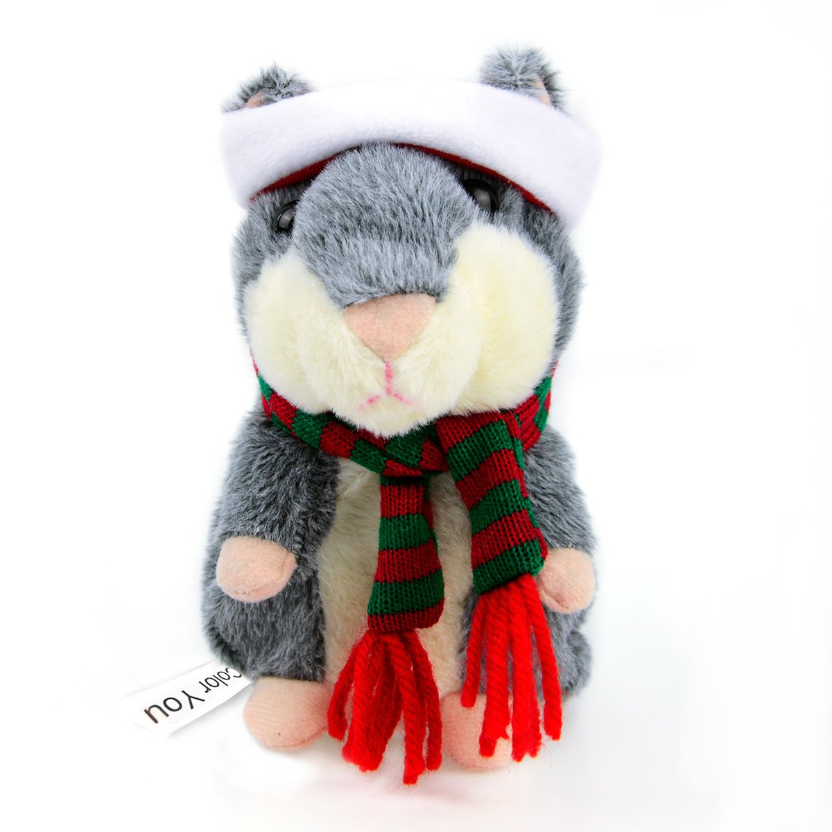 Color You Talking Hamster Repeats What You Say in Christmas Suit Plush Animal Toy Electronic Hamster Mouse 3 x 5.7 inches (Grey)