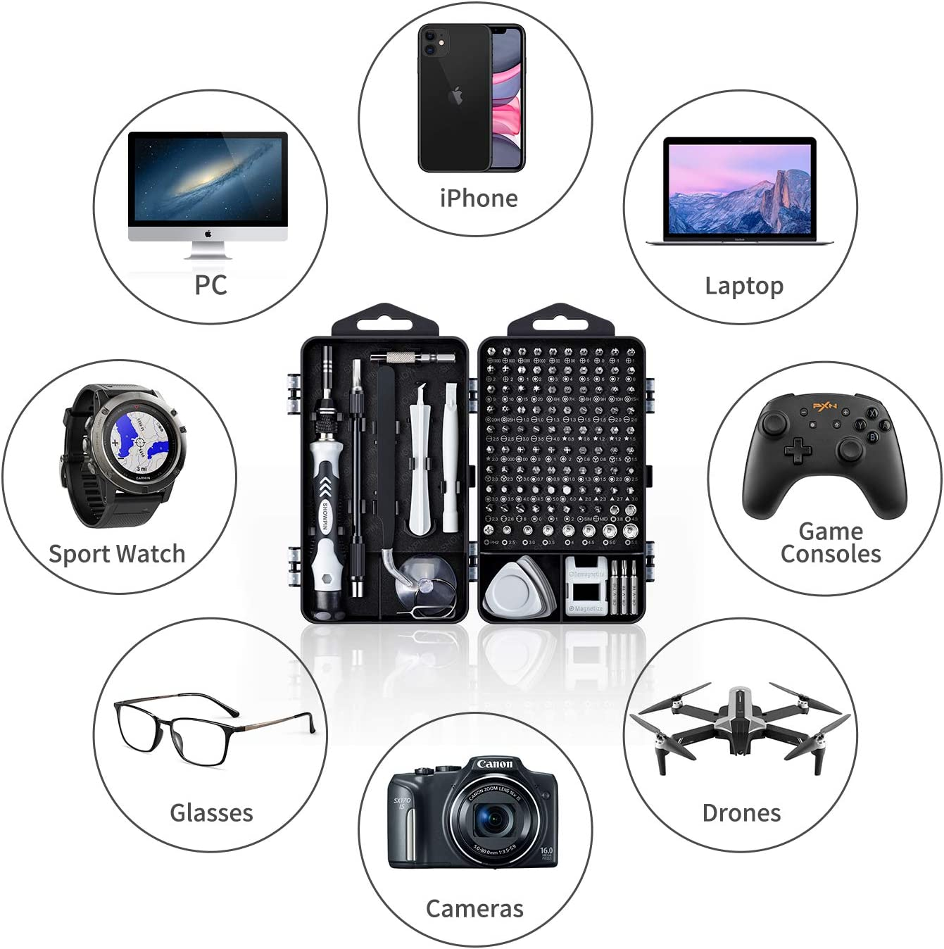 Computer Repair Kit, 122 in 1 Magnetic Laptop Screwdriver Kit, Precision Screwdriver Set, Small Impact Screw Driver Set with Case for Computer, Laptop, PC, for iPhone, Watch, Ps4 DIY Hand Tools -Grey: Computers & Accessories