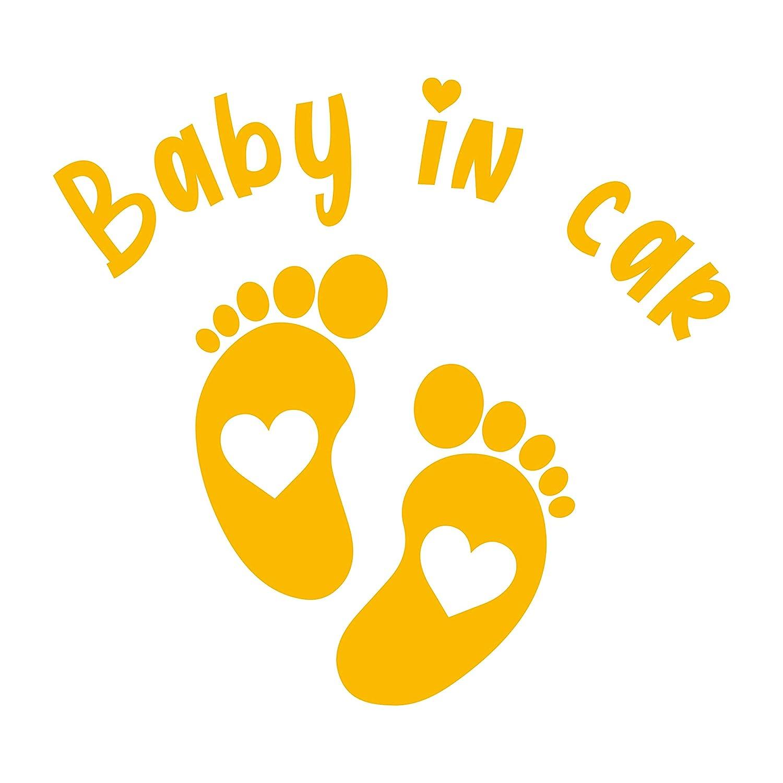 P005 Gold Baby in Car Aufkleber 15cm x 14cm Auto Sticker Babyaufkleber Autoaufkleber Vinyl