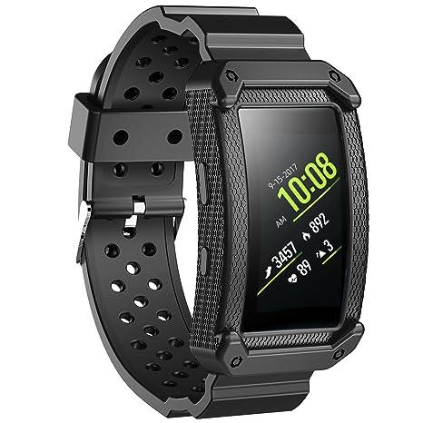 JIELIELE Banda de Reloj Reemplazo para Samsung Gear Fit 2, Suave Silicona Pulsera Correa Smartwatch Deporte Band para Samsung Gear Fit 2 (Negro)