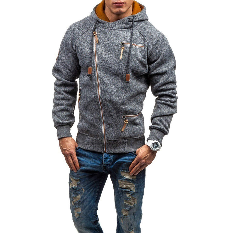 Kaured Fashion Solid Color Casual SweatMens Slim Fit Zipper Coat