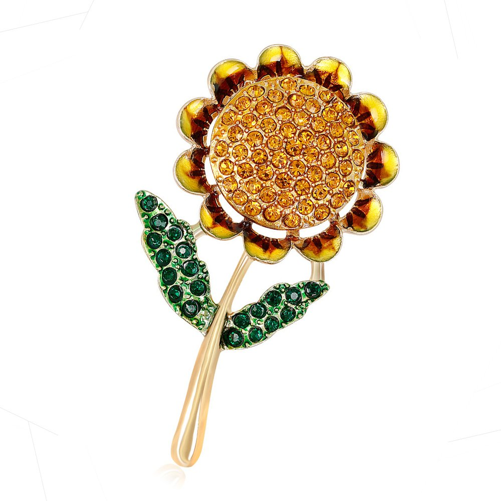 Ezing Energetic Yellow Flower Green Leaf Enamel Badges Sunflower Pin Brooches Gold Plated