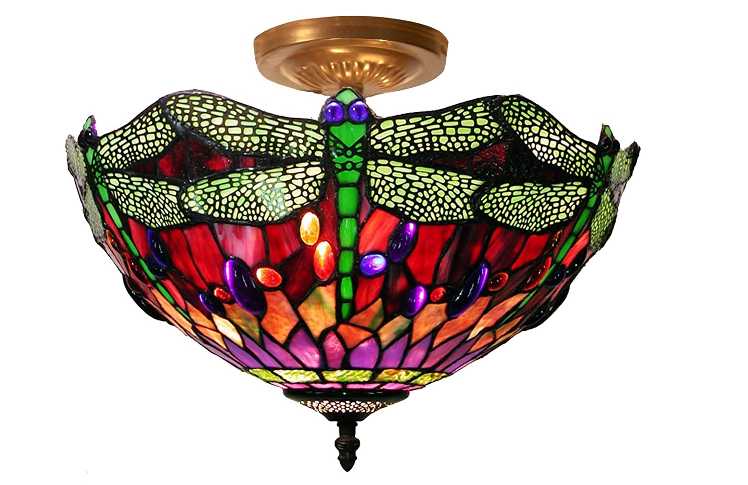 Tiffany style dragonfly ceiling lamp table lamps amazon aloadofball Image collections