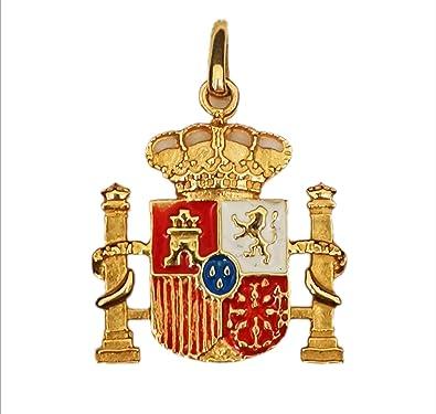 Colgante Escudo de España esmaltado Oro de 18 kilates: Amazon.es: Joyería