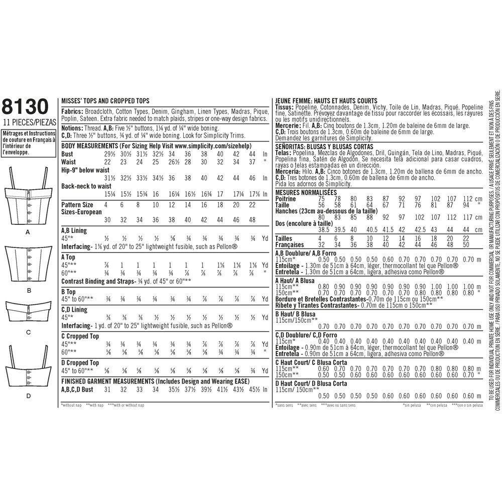 Simplicity Pattern 8130 Misses 1950 Vintage Tops y Recortada Tops ...