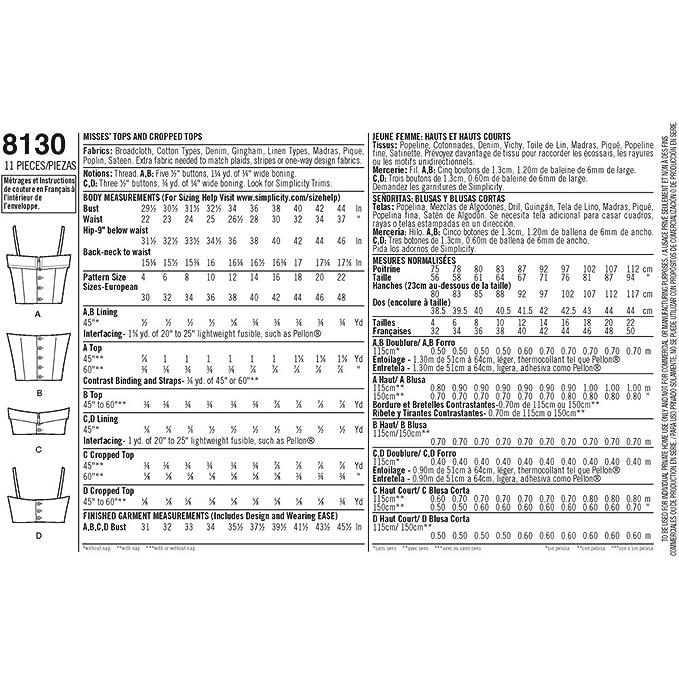 Simplicity Pattern 8130 Misses \'1950 Vintage Tops y Recortada Tops ...