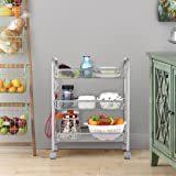 LANGRIA 3-Tier Mesh Wire Rolling Cart Multifunction Utility Cart Kitchen Storage Cart on Wheels, Steel Wire Basket Shelving Trolley,Easy moving,Silver