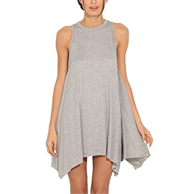 WalterTi Fashion Asymmetric Hem Shift Dress Grey Women Plus Size Women Clothing Open Women Dresses vestidos