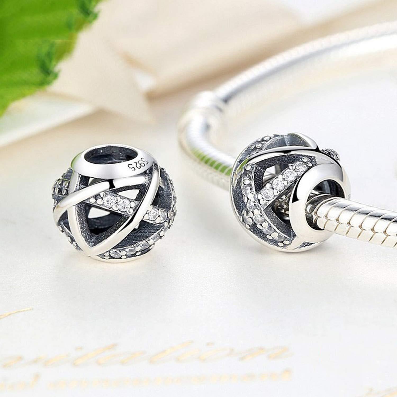 EverReena Silvery Galaxy Charm with Elegant CZ Stone Silver Beads Bracelets