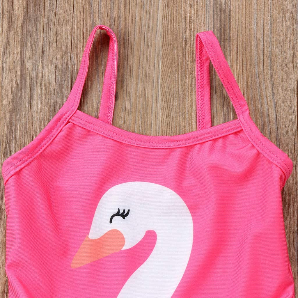 MOGOV Toddler Baby Kids Girls Summer Cartoon Swan Print Swimwear Beach Lace Stitching Swimsuit Romper