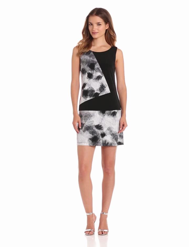 maxandcleo Womens Sleeveless Print Colorblock Dress, Glacier Grey, Medium