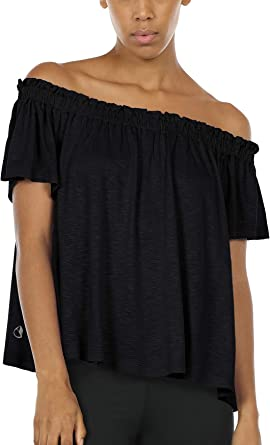 Icyzone Off The Shoulder Tops Women Short Sleeve Sexy Shirts
