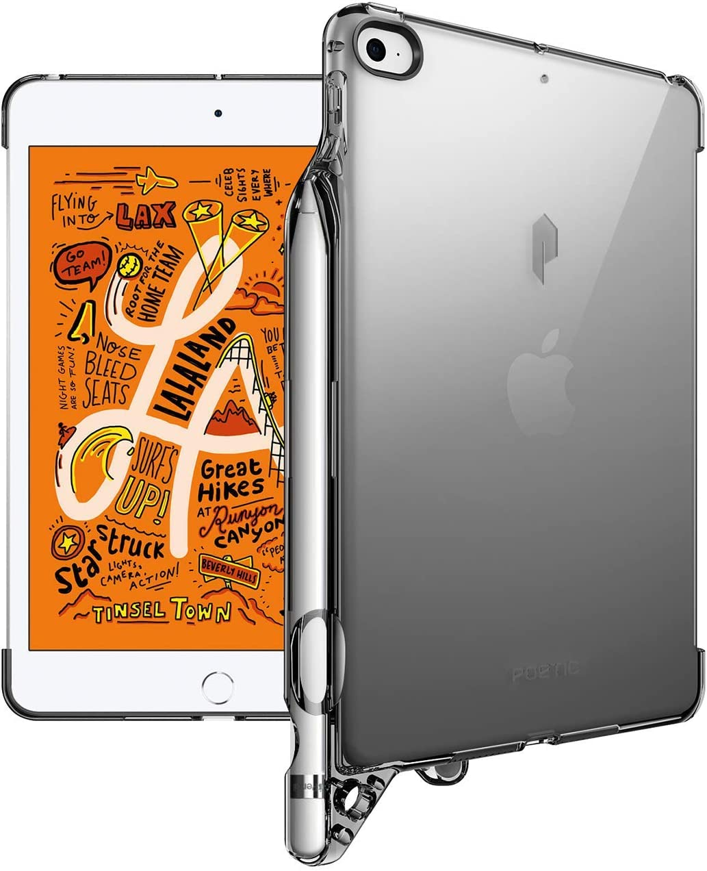iPad Mini 5 Clear Case, Poetic Flexible Soft Transparent TPU Clear Back Cover with Pencil Holder, Compatible with Apple Smart Cover, Lumos, for Apple iPad Mini 5, Transparent Gray