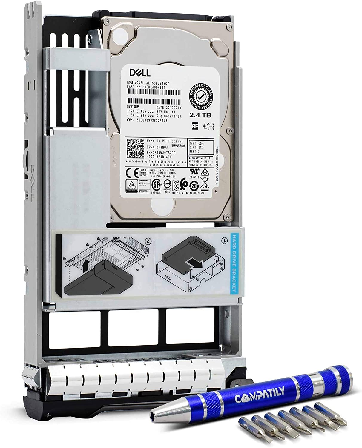 Dell/EMC 400-AUVR 2.4TB 10K RPM SAS 512e 12Gb/s Enterprise Hard Drive in 13G 3.5in Hybrid Tray for Dell EMC Servers Bundle with Compatily Screwdriver Kit