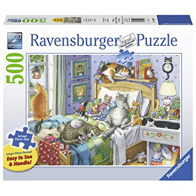 Ravensburger Cat Nap 14966 500 Piece Large Pieces Jigsaw Puzzle for Adults, Every Piece is Unique, Softclick Technology Means Pieces Fit Together Perfectly: Toys & Games