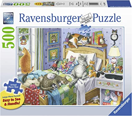 Amazon Com Ravensburger Cat Nap 14966 500 Piece Large Pieces Jigsaw Puzzle For Adults Every Piece Is Unique Softclick Technology Means Pieces Fit Together Perfectly Toys Games