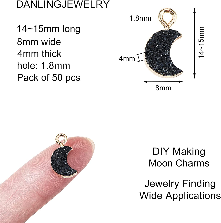 Druzy Bracelet and Necklace Charms 34x23.4x8.5mm Big Moon Shaped Pendant Orange Resin Copper Bracelet and Necklace RC1003P