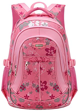 Amazon.com: Tinksky Flowers Pattern Backpacks for Girls Elementary ...