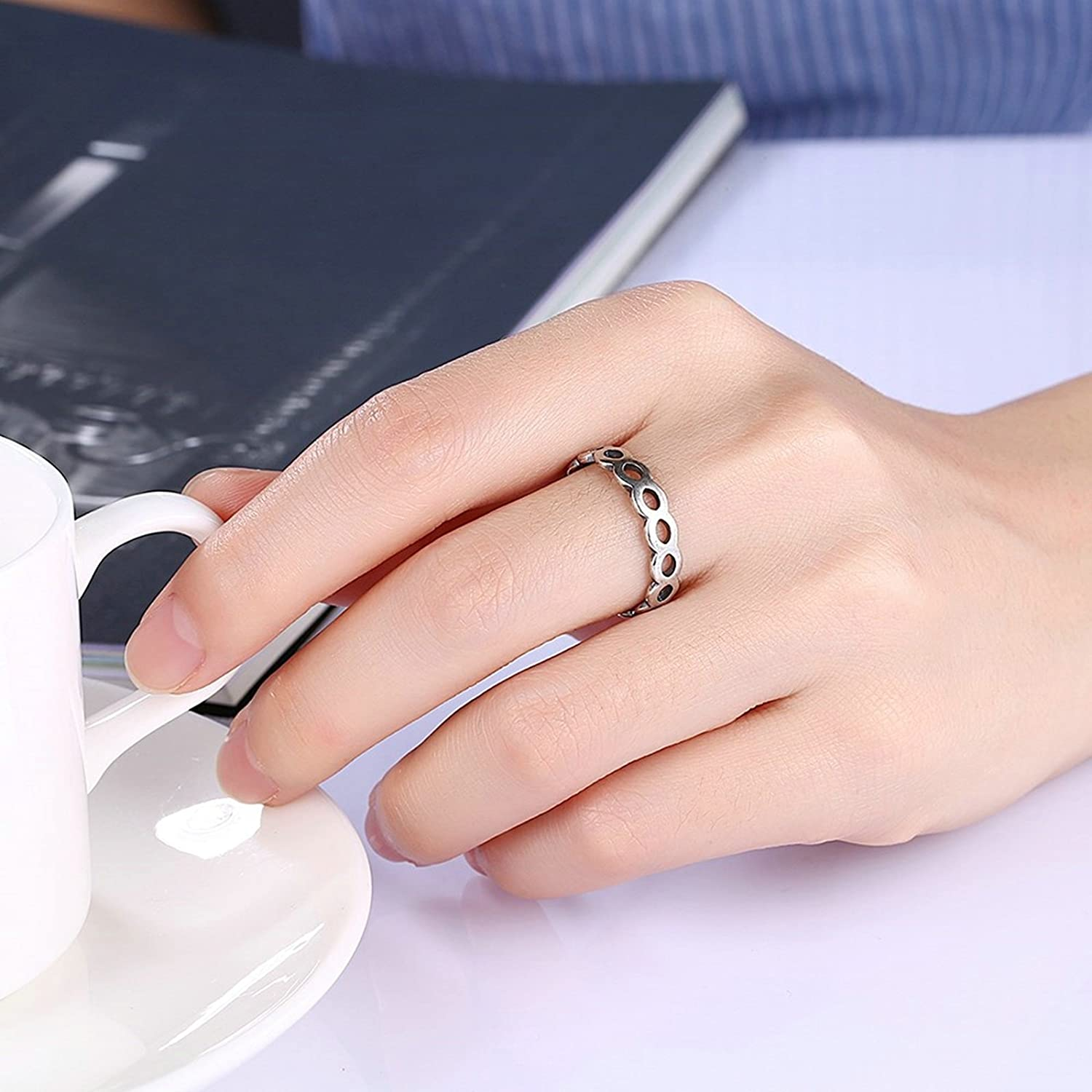 Amazon.com: Adisaer Women Rings Silver Plated 5MM Knuckle Black Onyx ...