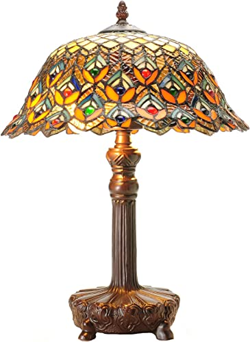 HomeRoots Tan Glass, Metal Tiffany-Style Peacock Jewel Table Lamp
