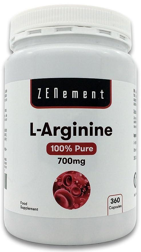 L-Arginina 100% Pura, 700 mg, 360 Cápsulas | Vasodilatador, favorece