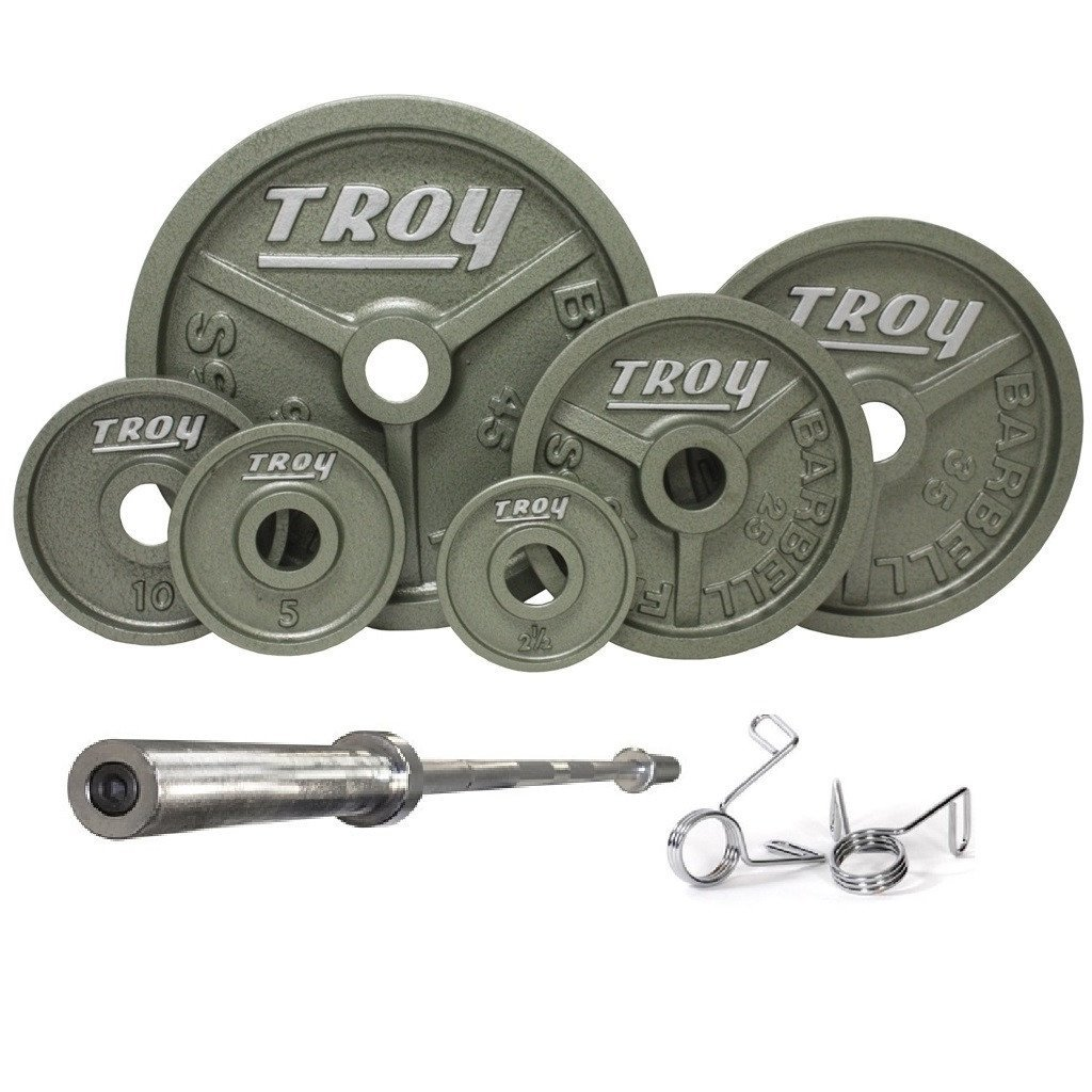 0ef5dd8e698 Amazon.com   Troy Barbell Cast Iron Weight Set - Premium Wide Flanged Plate  - Black - 300 lb Weight Set - Includes bar and Collars   Sports   Outdoors