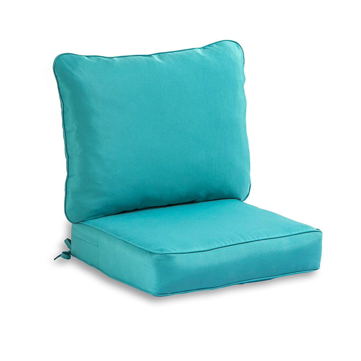South Pine Porch AM7820-TEAL 2-Piece Outdoor Deep Seat Cushion Set, Solid Teal