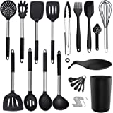 Silicone Cooking Utensil Set - ADINC 480℉ Heat Resistant Dishwasher Safe Silicone Cooking Kitchen Utensils Set Stainless Stee