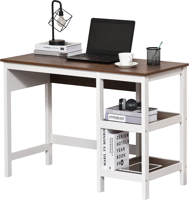 HOMCOM Two-Tone Woodgrain Writing Work Desk with Large Desktop and 2 Open Storage Shelves for Office, Dark Walnut/White