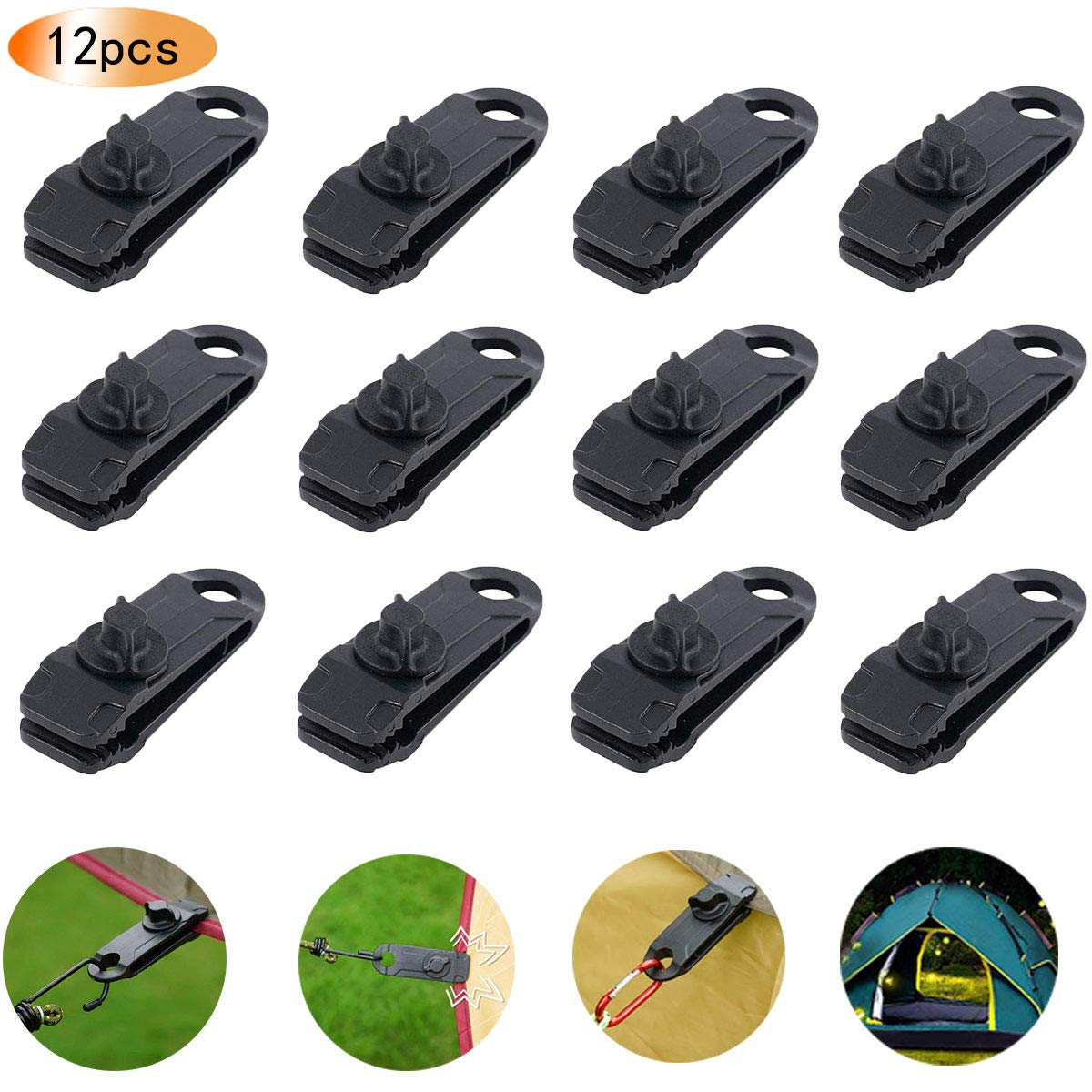 12pcs Tarp Clips, Heavy Duty Lock Grip Clamps Thumb Screw Tent Clip Awning Clamp Set Trap Clips Jaw Tent Snaps Tarps Canopies and Covers Locking Clamp Design for Outdoors Camping Farming Garden Tarps by GTOMIPO