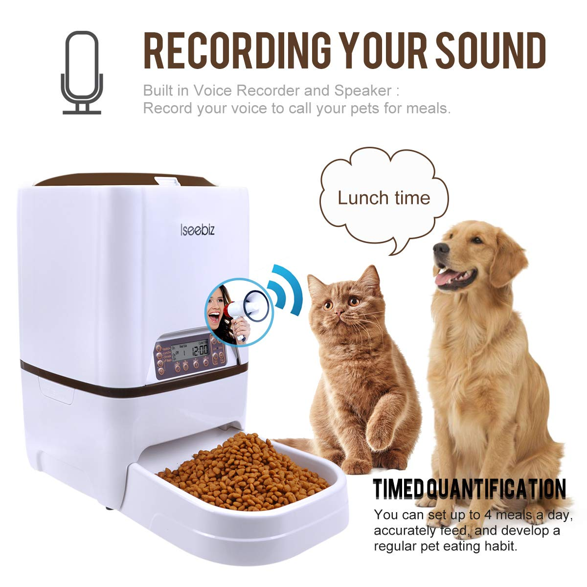 6l Automatic Convenient Pet Timing Feeder With Voice Recorder Speake Lcd Display Infrared Sensor Cat Dog Food Feeding Dispenser Home Appliance Parts