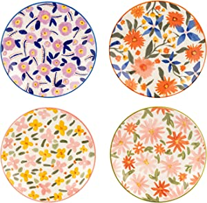 MDZF SWEET HOME 8-Inch Porcelain Dinner Plates Set Pizza Pasta Serving Dishes Tableware Dessert Dishes Set of 4