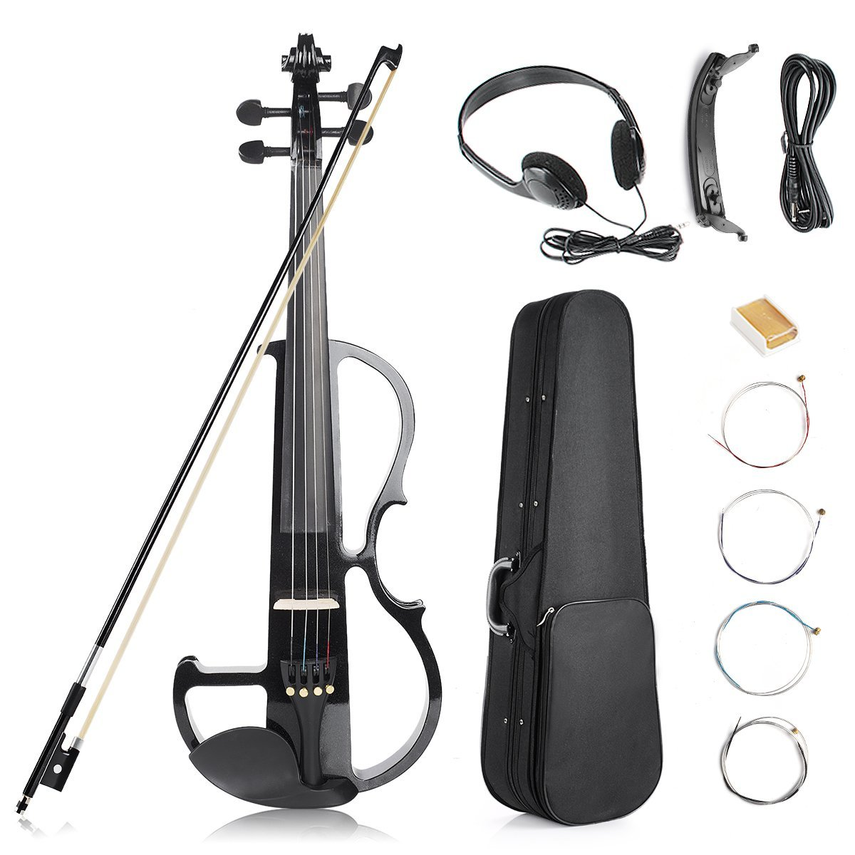 Vangoa - Black Full Size 4/4 Solid Wood Metallic Electronic Silent Mahogany Violin with Ebony Fittings, Carrying Case, Audio Cable, Rosin, Bow