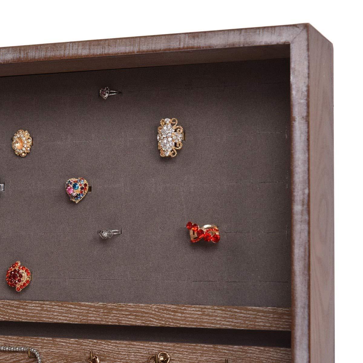 COSTWAY Armoire /à Bijoux Mural avec Miroir Armoire de Rangement MDF 35,2 x 9,2 x 96 cm Brown