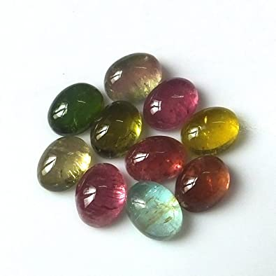 11424db7e1f03 Amazon.com: 8X6 MM Oval Shape Natural Multi Color Tourmaline ...
