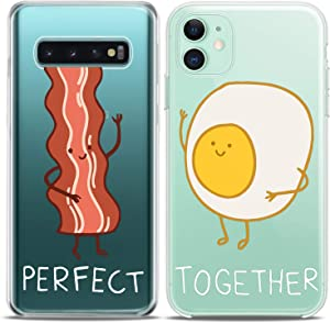 Cavka Matching Couple Cases Replacement for Samsung Galaxy S20 Note 20 5G S10e A71 A50 A11 A01 S7 S8 Perfect Together Bacon Egg Kawai Food Fancy Meat Anniversary Clear Silicone Cover Art Mate Friend