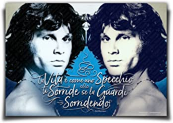 Wall Stickers Poster Adesivi Murali Frasi Citazioni Jim Morrison, scritta La vita è come uno specchio, ti sorride se la guardi sorridendo   Gigio Store ©