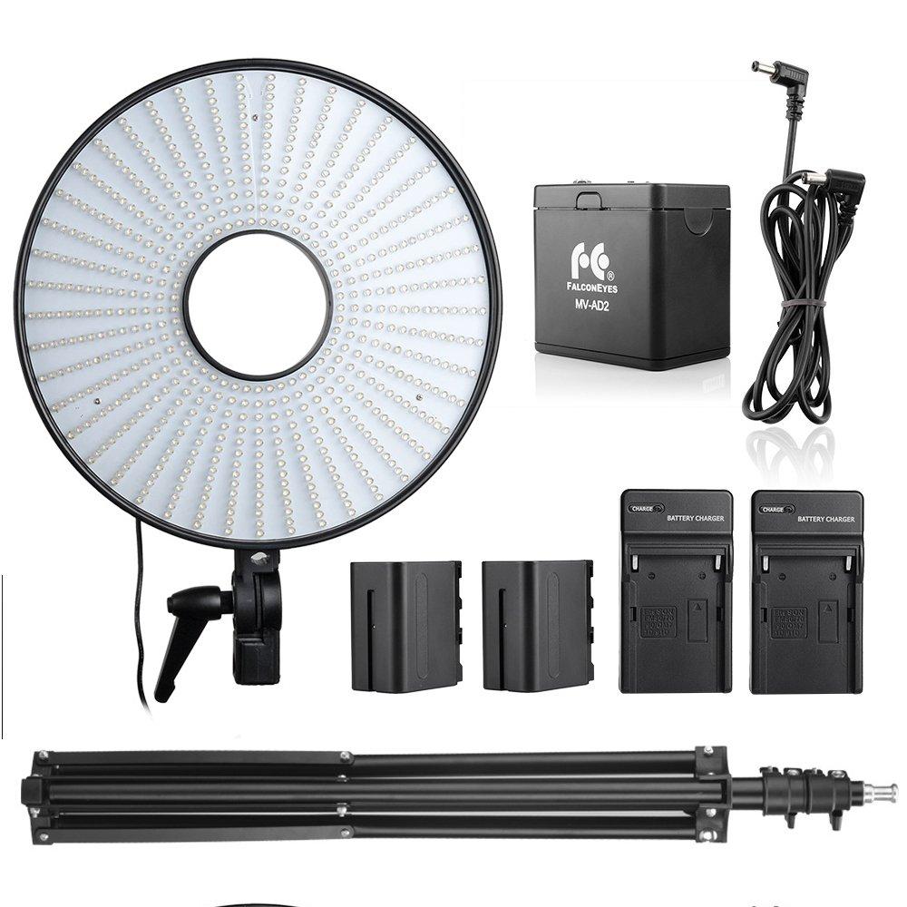 FALCONEYES DVR-630DVCスーパーパワーLEDリングライトバイ色温度ビデオライト+バッテリーパック+バッテリーチャージャー   B074TDML84