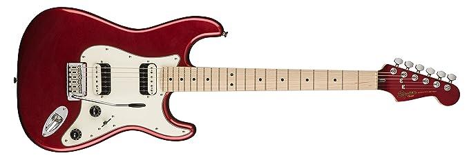 Squier por Fender Stratocaster Guitarra eléctrica - contemporáneo hh - arce diapasón, color rojo metálico: Amazon.es: Instrumentos musicales