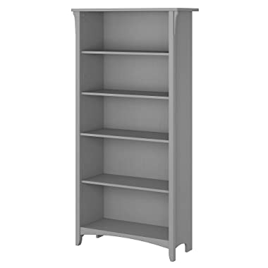Bush Furniture Salinas 5 Shelf Bookcase in Cape Cod Gray