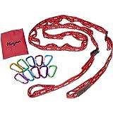 MAGNA マグナ ハンギングチェーン 赤 カラビナ 10個付き デイジーチェーン キャンプ の小物整理に 140cm~最長250cmまで 調節可能
