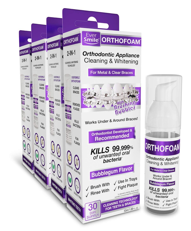 EverSmile OrthoFoam Braces Cleaner & Tooth Whitener (4 Pack)