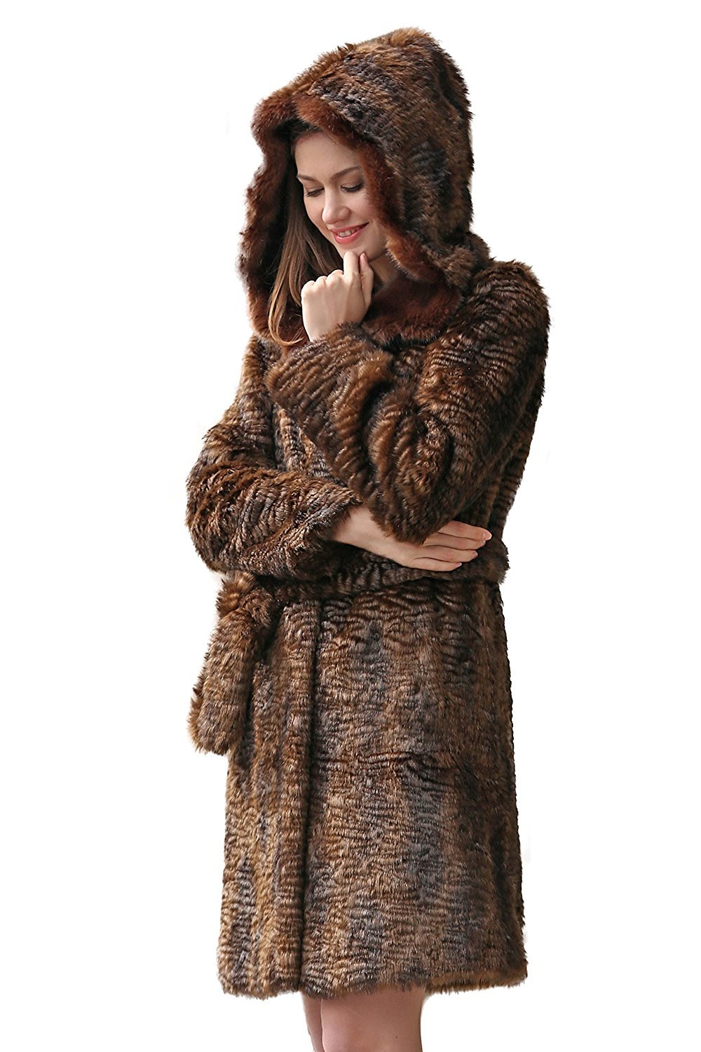 Adelaqueen Women's Winter New Style Brown Persian Lamb Faux fur Coat Faux Sable Hooded Size M