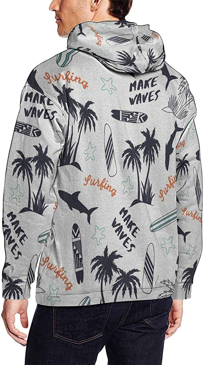 INTERESTPRINT Mens Summer Pattern Design Slim Fit Long Sleeve Lightweight Hoodie S