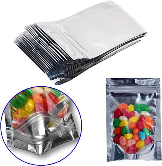 Silver Aluminum Foil Mylar Zip Lock Bag Smell Proof Food Storage Pouches Package