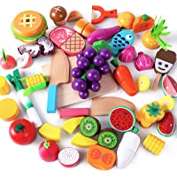 iPlay, iLearn Cutting & Cooking Toy, Wooden Food, Pretend Play Kitchen Set, Magnetic Wood Fruit, Early Educational…