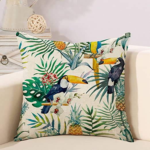 Decorativa almohada tropisch hojas Flamencos Impresión ...