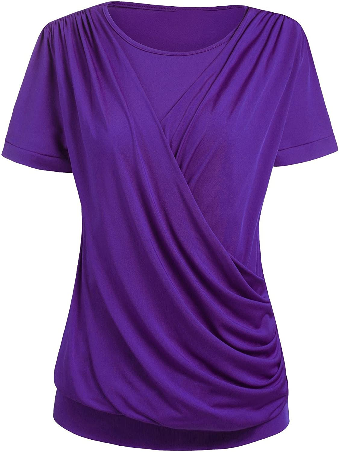 SoTeer Womens Short Sleeve Crewneck Front Pleated Dressy Tunic Tops Purple